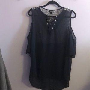 Sheer chiffon cold shoulder blouse